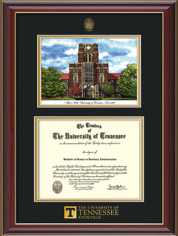 Image of University of Tennessee Diploma Frame - Cherry Lacquer - w/Embossed UTK Seal & Wordmark - Campus Watercolor - Black on Gold mat