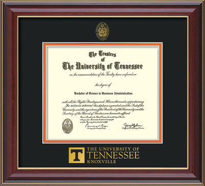 Image of University of Tennessee Diploma Frame - Cherry Lacquer - w/Embossed UTK Seal & Wordmark - Black on Orange Mat