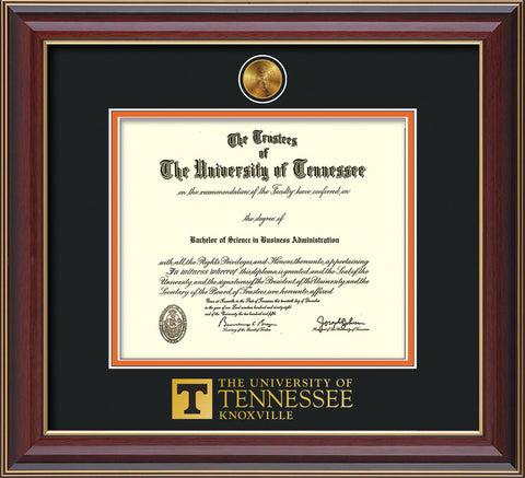 Image of University of Tennessee Diploma Frame - Cherry Lacquer - w/24k Gold Plated Medallion UTK Wordmark Embossing - Black on Orange Mat
