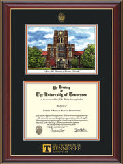 Image of University of Tennessee Diploma Frame - Cherry Lacquer - w/Embossed UTK Seal & Wordmark - Campus Watercolor - Black on Orange mat