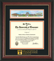 Image of University of Tennessee Diploma Frame - Rosewood w/Gold Lip - w/Embossed UTK School Wordmark Only - Campus Collage - Black on Orange mat