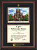 Image of University of Tennessee Diploma Frame - Rosewood w/Gold Lip - w/Embossed UTK Seal & Wordmark - Campus Watercolor - Black on Orange mat