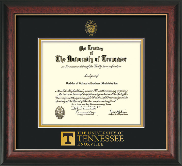 Image of University of Tennessee Diploma Frame - Rosewood w/Gold Lip - w/Embossed UTK Seal & Wordmark - Black on Gold Mat