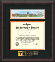 Image of University of Tennessee Diploma Frame - Mahogany Braid - w/Embossed UTK School Wordmark Only - Campus Collage - Black on Orange mat