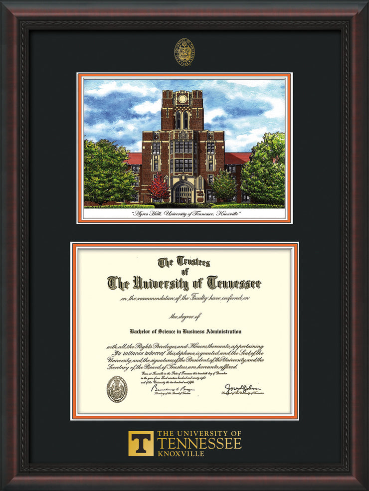 Image of University of Tennessee Diploma Frame - Mahogany Braid - w/Embossed UTK Seal & Wordmark - Campus Watercolor - Black on Orange mat