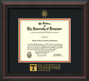Image of University of Tennessee Diploma Frame - Mahogany Braid - w/Embossed UTK Seal & Wordmark - Black on Orange Mat