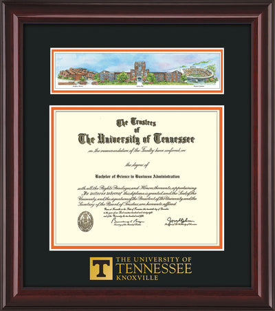 Image of University of Tennessee Diploma Frame - Mahogany Lacquer - w/Embossed UTK School Wordmark Only - Campus Collage - Black on Orange mat