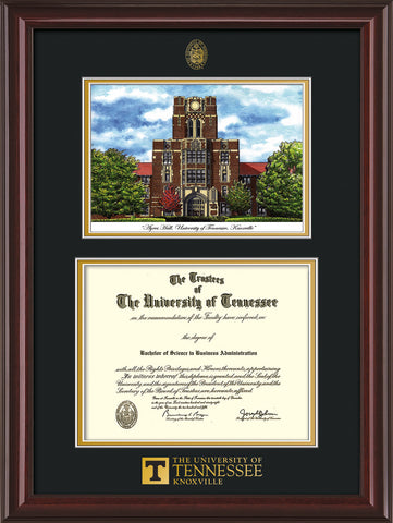 Image of University of Tennessee Diploma Frame - Mahogany Lacquer - w/Embossed UTK Seal & Wordmark - Campus Watercolor - Black on Gold mat