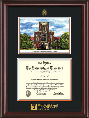 Image of University of Tennessee Diploma Frame - Mahogany Lacquer - w/Embossed UTK Seal & Wordmark - Campus Watercolor - Black on Orange mat