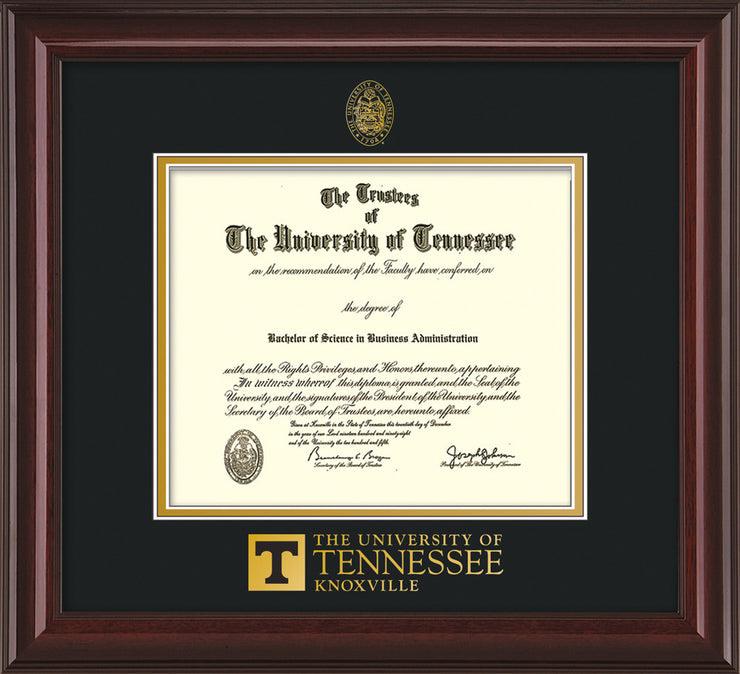 Image of University of Tennessee Diploma Frame - Mahogany Lacquer - w/Embossed UTK Seal & Wordmark - Black on Gold Mat