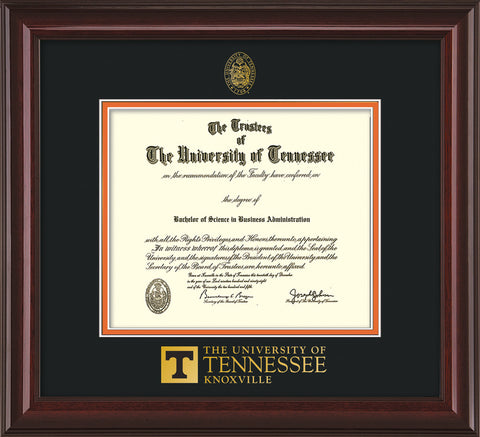 Image of University of Tennessee Diploma Frame - Mahogany Lacquer - w/Embossed UTK Seal & Wordmark - Black on Orange Mat