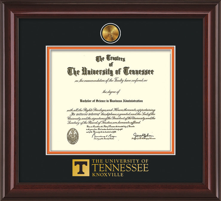 Image of University of Tennessee Diploma Frame - Mahogany Lacquer - w/24k Gold Plated Medallion UTK Wordmark Embossing - Black on Orange Mat