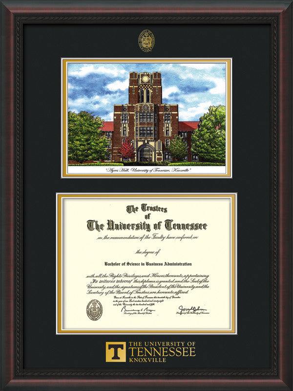 Image of University of Tennessee Diploma Frame - Mahogany Braid - w/Embossed UTK Seal & Wordmark - Campus Watercolor - Black on Gold mat