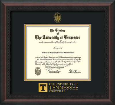 Image of University of Tennessee Diploma Frame - Mahogany Braid - w/Embossed UTK Seal & Wordmark - Black on Gold Mat