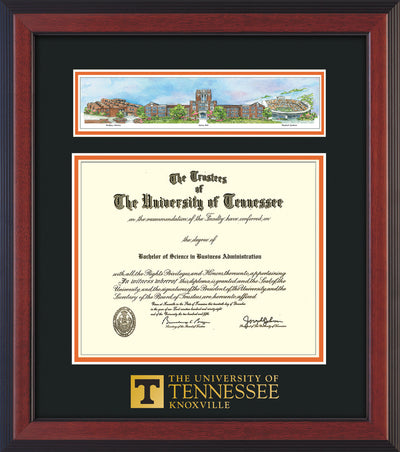 Image of University of Tennessee Diploma Frame - Cherry Reverse - w/Embossed UTK School Wordmark Only - Campus Collage - Black on Orange mat