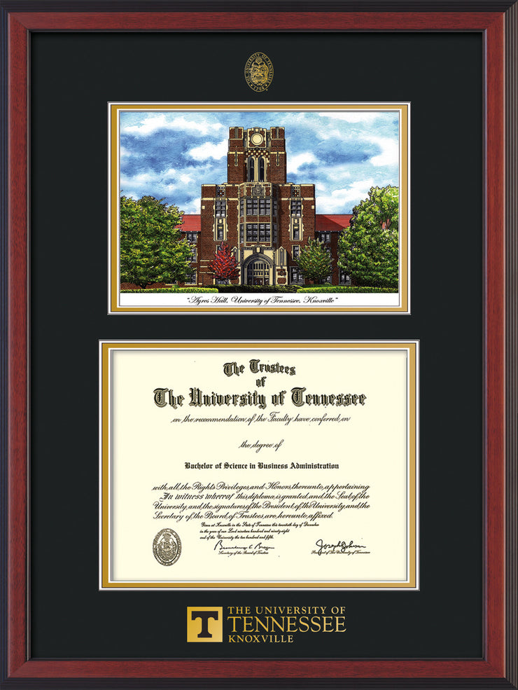 Image of University of Tennessee Diploma Frame - Cherry Reverse - w/Embossed UTK Seal & Wordmark - Campus Watercolor - Black on Gold mat