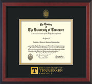 Image of University of Tennessee Diploma Frame - Cherry Reverse - w/Embossed UTK Seal & Wordmark - Black on Gold Mat