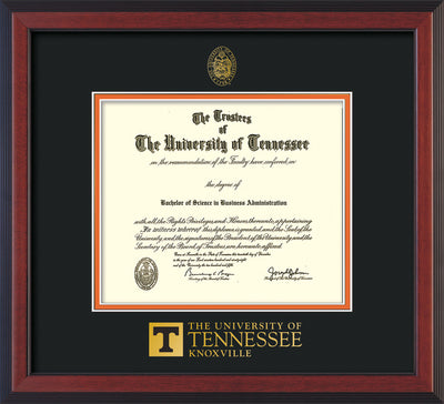 Image of University of Tennessee Diploma Frame - Cherry Reverse - w/Embossed UTK Seal & Wordmark - Black on Orange Mat