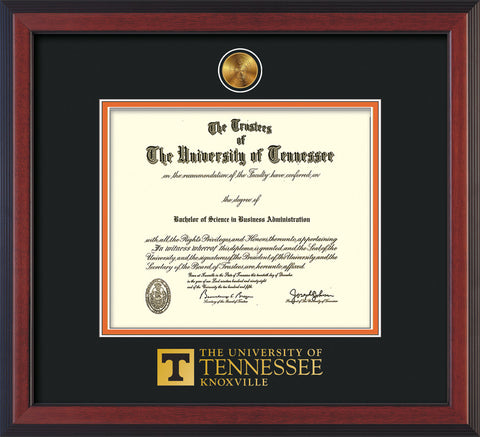 Image of University of Tennessee Diploma Frame - Cherry Reverse - w/24k Gold Plated Medallion UTK Wordmark Embossing - Black on Orange Mat
