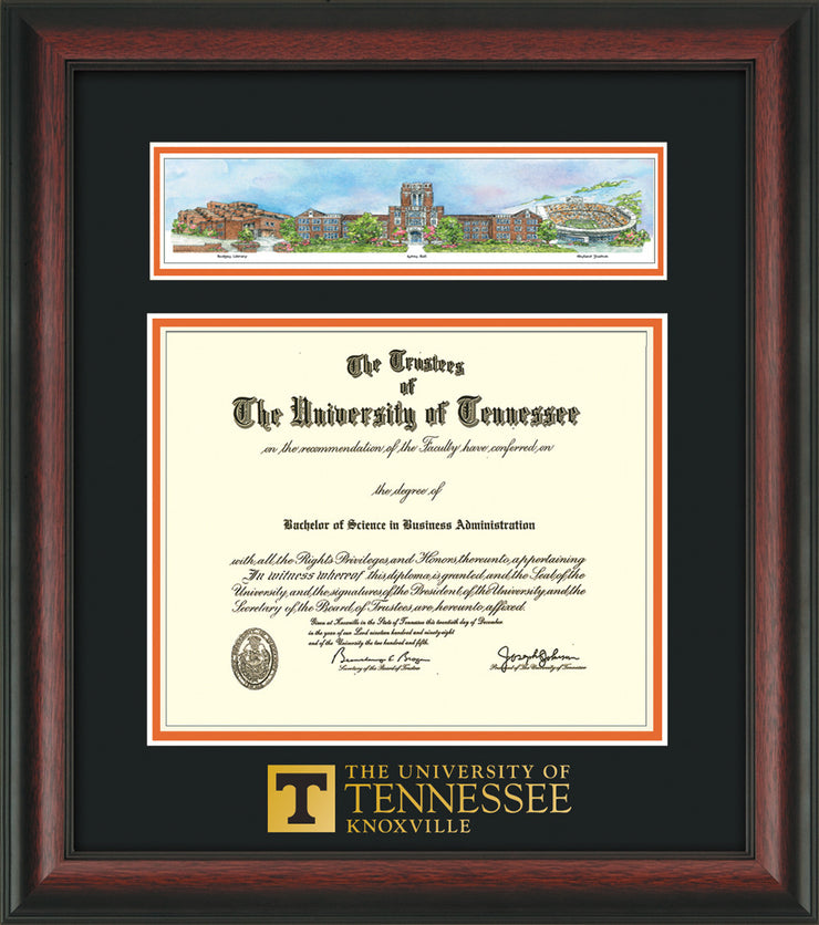 Image of University of Tennessee Diploma Frame - Rosewood - w/Embossed UTK School Wordmark Only - Campus Collage - Black on Orange mat