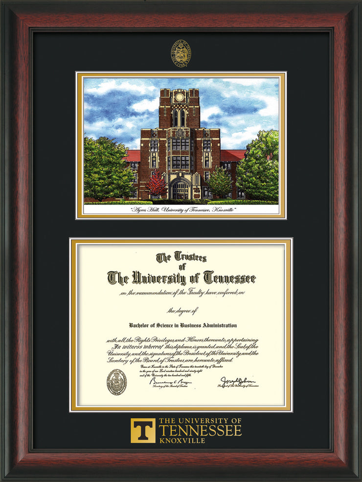 Image of University of Tennessee Diploma Frame - Rosewood - w/Embossed UTK Seal & Wordmark - Campus Watercolor - Black on Gold mat