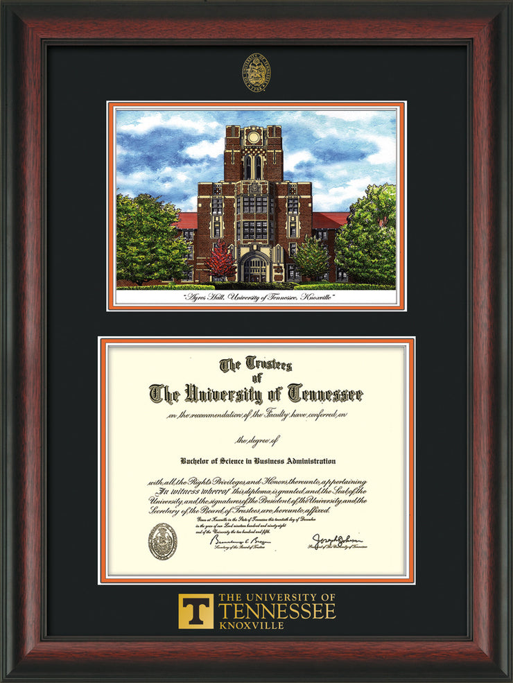 Image of University of Tennessee Diploma Frame - Rosewood - w/Embossed UTK Seal & Wordmark - Campus Watercolor - Black on Orange mat