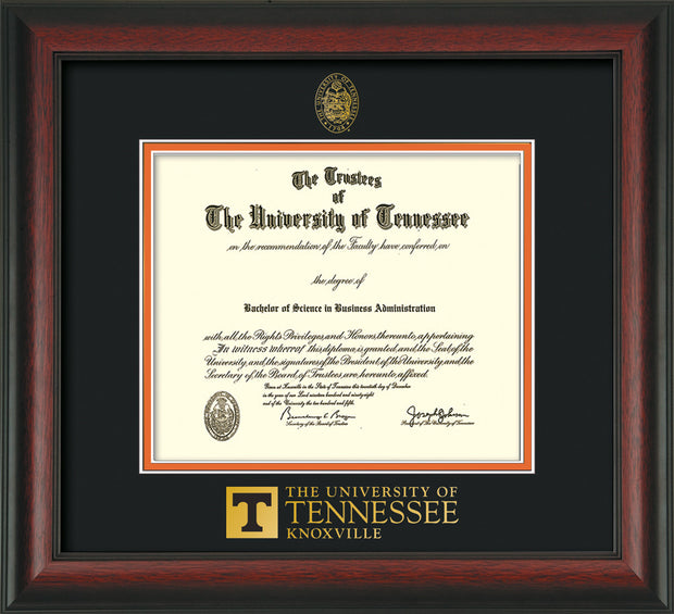 Image of University of Tennessee Diploma Frame - Rosewood - w/Embossed UTK Seal & Wordmark - Black on Orange Mat