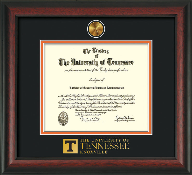 Image of University of Tennessee Diploma Frame - Rosewood - w/24k Gold Plated Medallion UTK Wordmark Embossing - Black on Orange Mat
