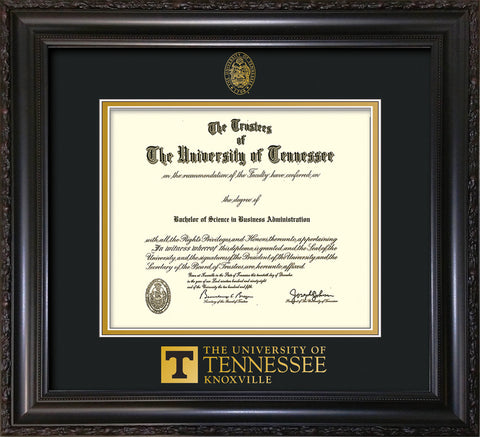 Image of University of Tennessee Diploma Frame - Vintage Black Scoop - w/Embossed UTK Seal & Wordmark - Black on Gold Mat