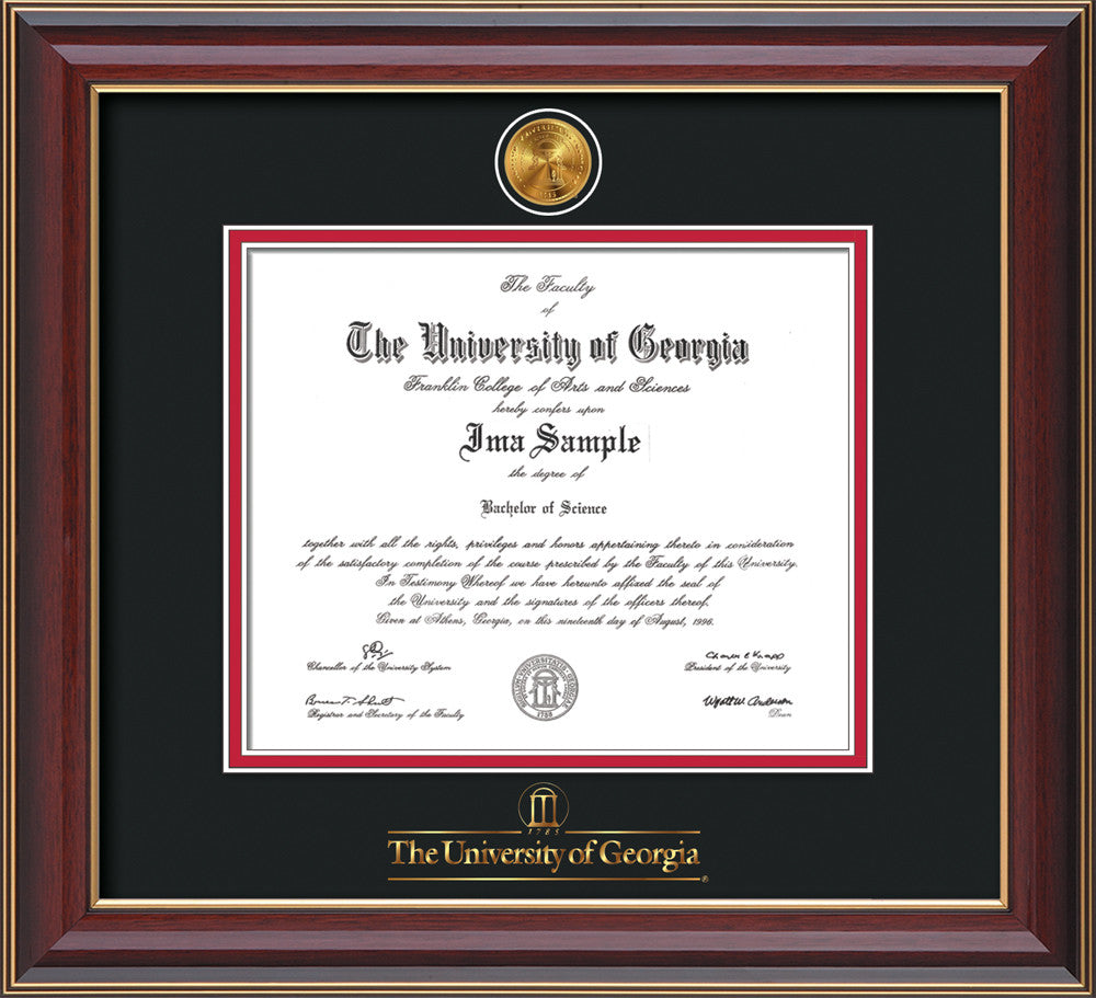 UGA Diploma Frame - Cherry Lacque w/Medallion Wordmark - Black on ...