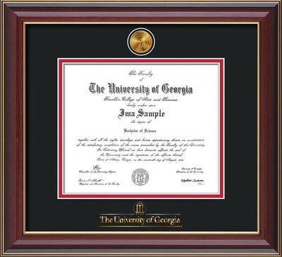 Image of University of Georgia Diploma Frame - Cherry Lacquer - w/24k Gold-Plated Medallion UGA Wordmark Embossing - Black on Red mats