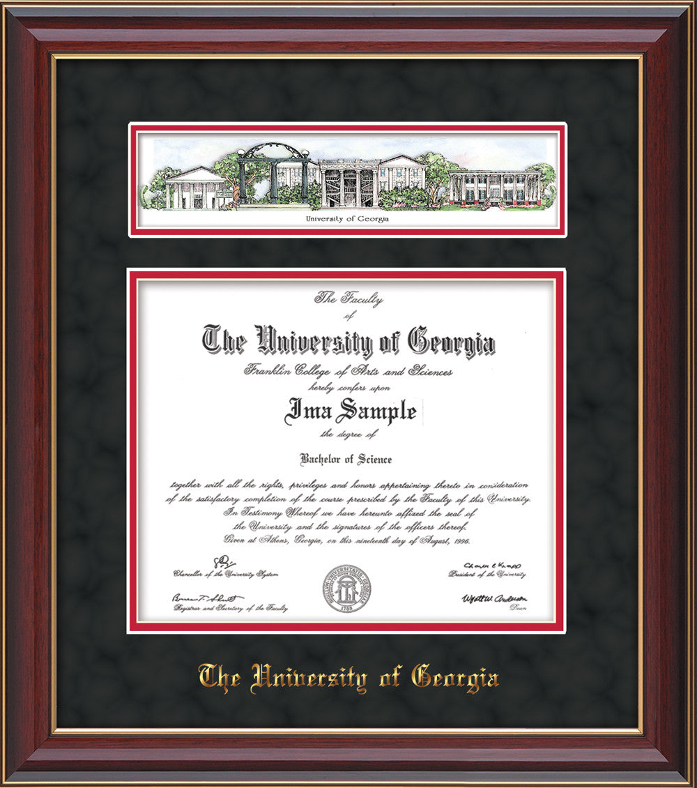 UGA. Diploma Frame - C Lacquer - Campus Collage - Black Suede on Red ...