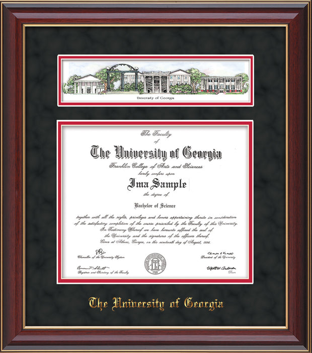 Image of University of Georgia Diploma Frame - Cherry Lacquer - w/Embossed School Name Only - Campus Collage - Black Suede on Red mat
