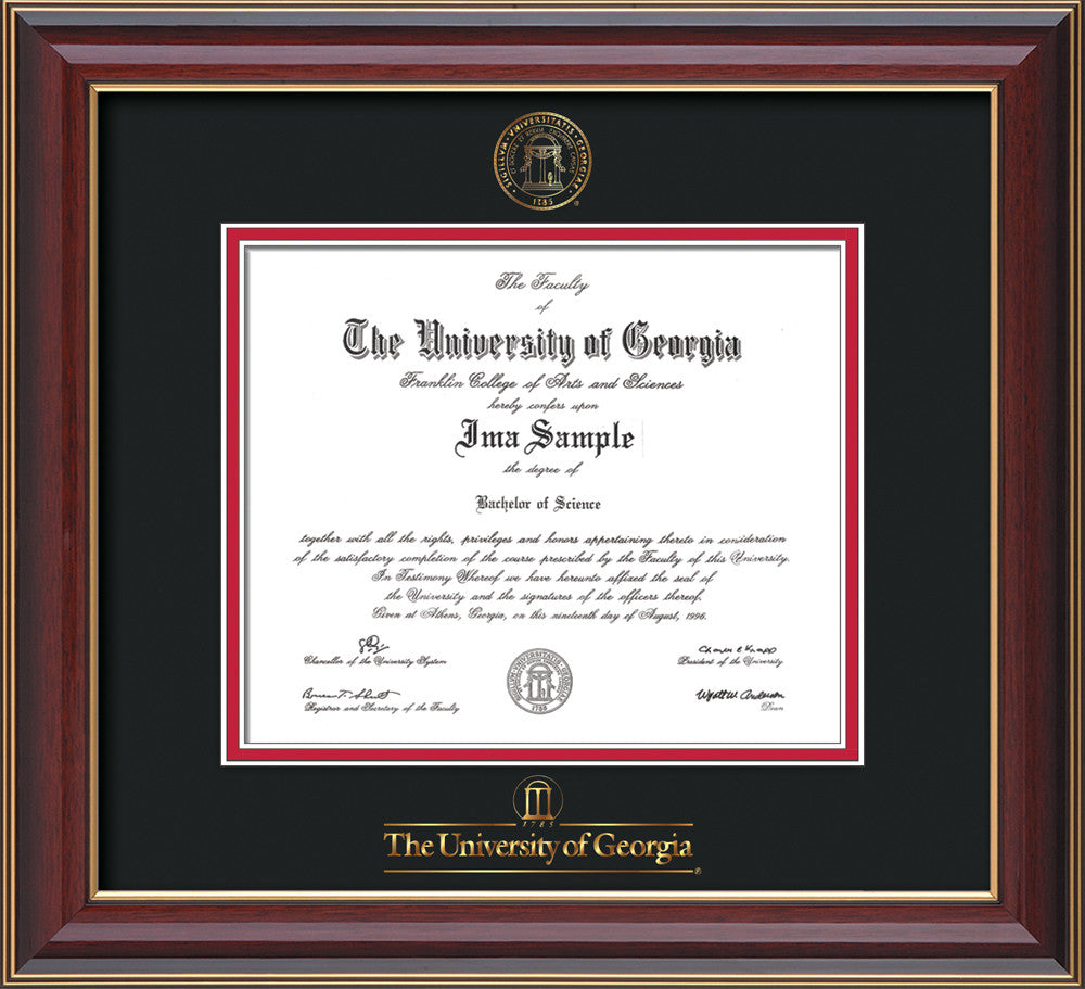 image of university of georgia diploma frame cherry lacquer wembossed seal