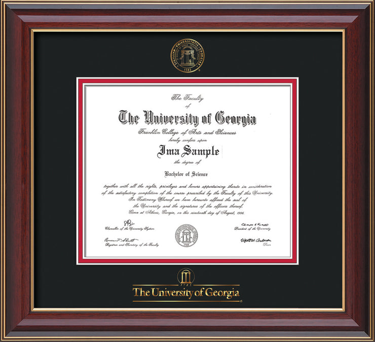 Image of University of Georgia Diploma Frame - Cherry Lacquer - w/Embossed Seal & Wordmark - Black on Red mats