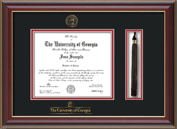 Image of University of Georgia Diploma Frame - Cherry Lacquer - w/UGA Embossed Seal & School Wordmark - Tassel Holder - Black on Red mat