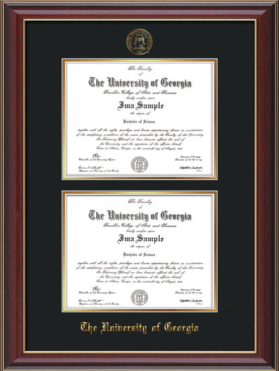 Image of University of Georgia Diploma Frame - Cherry Lacquer - with UGA Seal - Double Diploma - Black on Gold mat