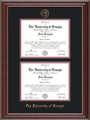 Image of University of Georgia Diploma Frame - Cherry Lacquer - with UGA Seal - Double Diploma - Black on Red mat