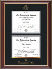Image of University of Georgia Diploma Frame - Cherry Lacquer - with UGA Seal & Wordmark - Double Diploma - Black on Gold mat