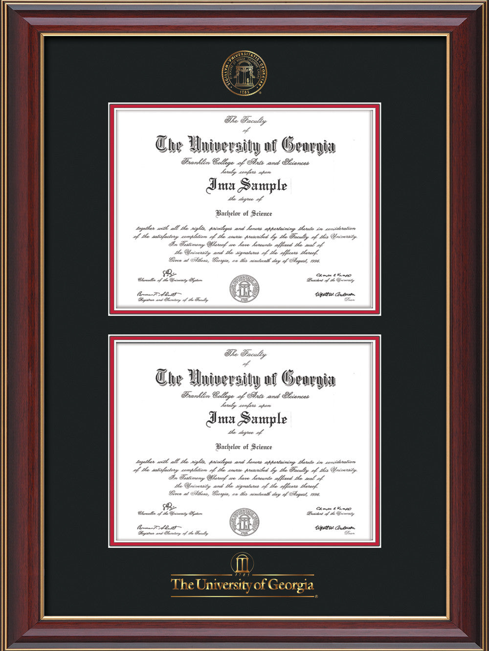 UGA Diploma Frame - Rosewood with Double Diploma, Black on Red ...