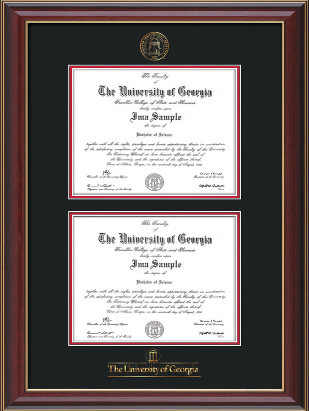 Image of University of Georgia Diploma Frame - Cherry Lacquer - with UGA Seal & Wordmark - Double Diploma - Black on Red mat