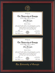 Image of University of Georgia Diploma Frame - Cherry Reverse - with UGA Seal - Double Diploma - Black on Gold mat