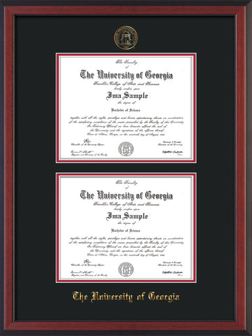Image of University of Georgia Diploma Frame - Cherry Reverse - with UGA Seal - Double Diploma - Black on Red mat