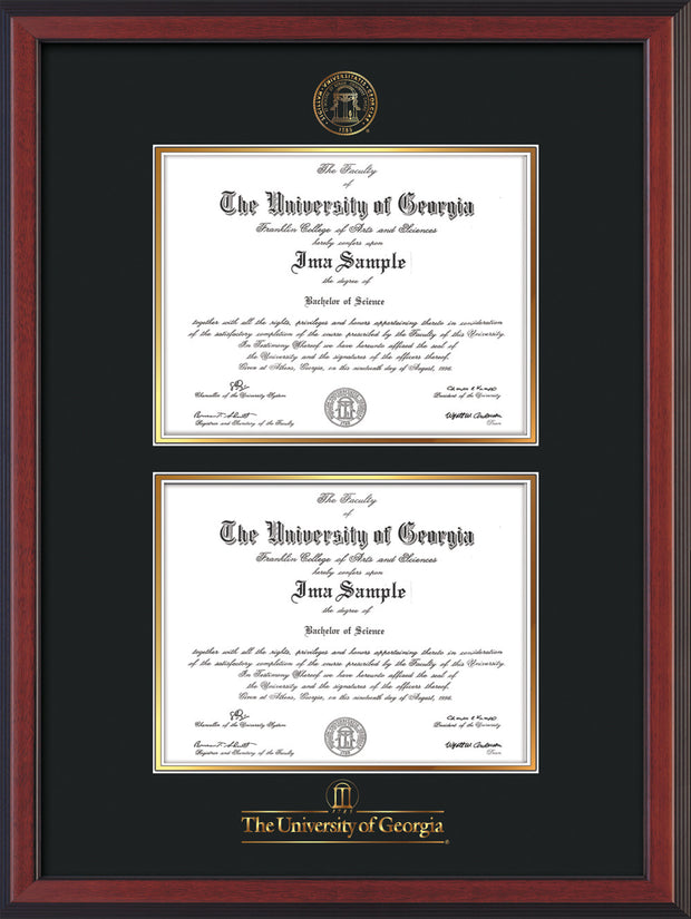 Image of University of Georgia Diploma Frame - Cherry Reverse - with UGA Seal & Wordmark - Double Diploma - Black on Gold mat