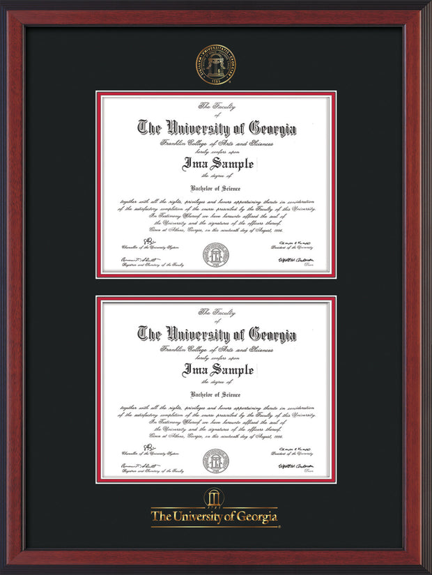 Image of University of Georgia Diploma Frame - Cherry Reverse - with UGA Seal & Wordmark - Double Diploma - Black on Red mat
