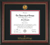 Image of University of Georgia Diploma Frame - Rosewood w/Gold Lip - w/24k Gold-Plated Medallion UGA Wordmark Embossing - Black on Red mats