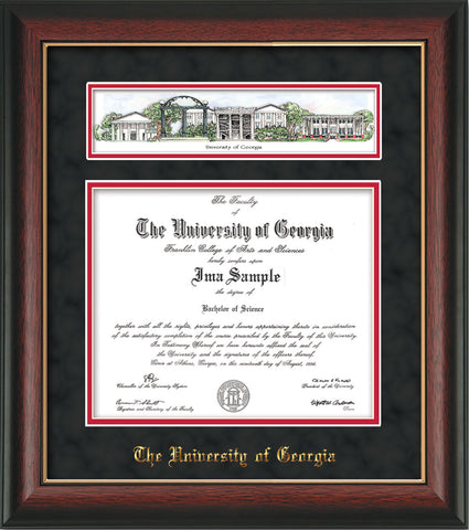 Image of University of Georgia Diploma Frame - Rosewood w/ Gold Lip - w/Embossed School Name Only - Campus Collage - Black Suede on Red mat