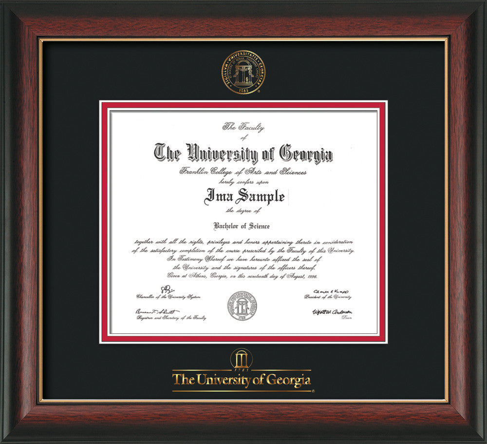 University of Georgia Diploma Frame - Rosewood G Lip - w/UGA Seal ...