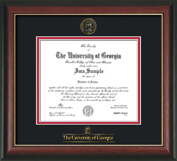 Image of University of Georgia Diploma Frame - Rosewood w/Gold Lip - w/Embossed Seal & Wordmark - Black on Red mats