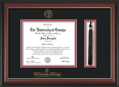 Image of University of Georgia Diploma Frame - Rosewood w/Gold Lip - w/UGA Embossed Seal & School Wordmark - Tassel Holder - Black on Red mat